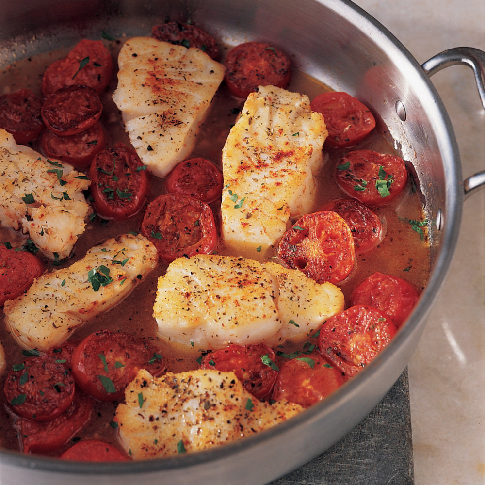 Braised Cod with Plum Tomatoes
