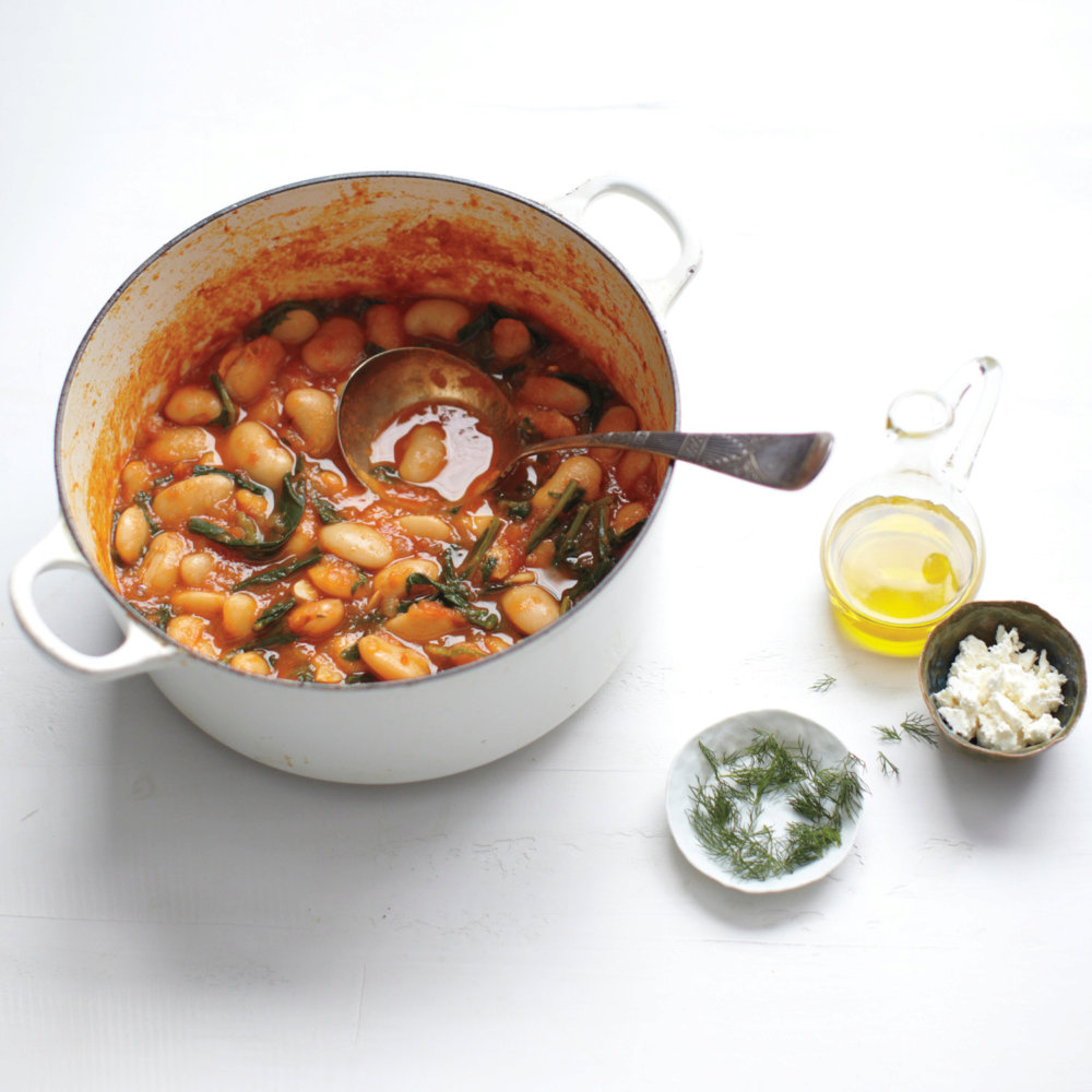 Gigante Beans with Feta and Bitter Greens