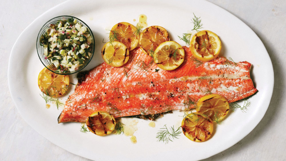 Crisp Grilled Salmon with Fennel-Olive Relish