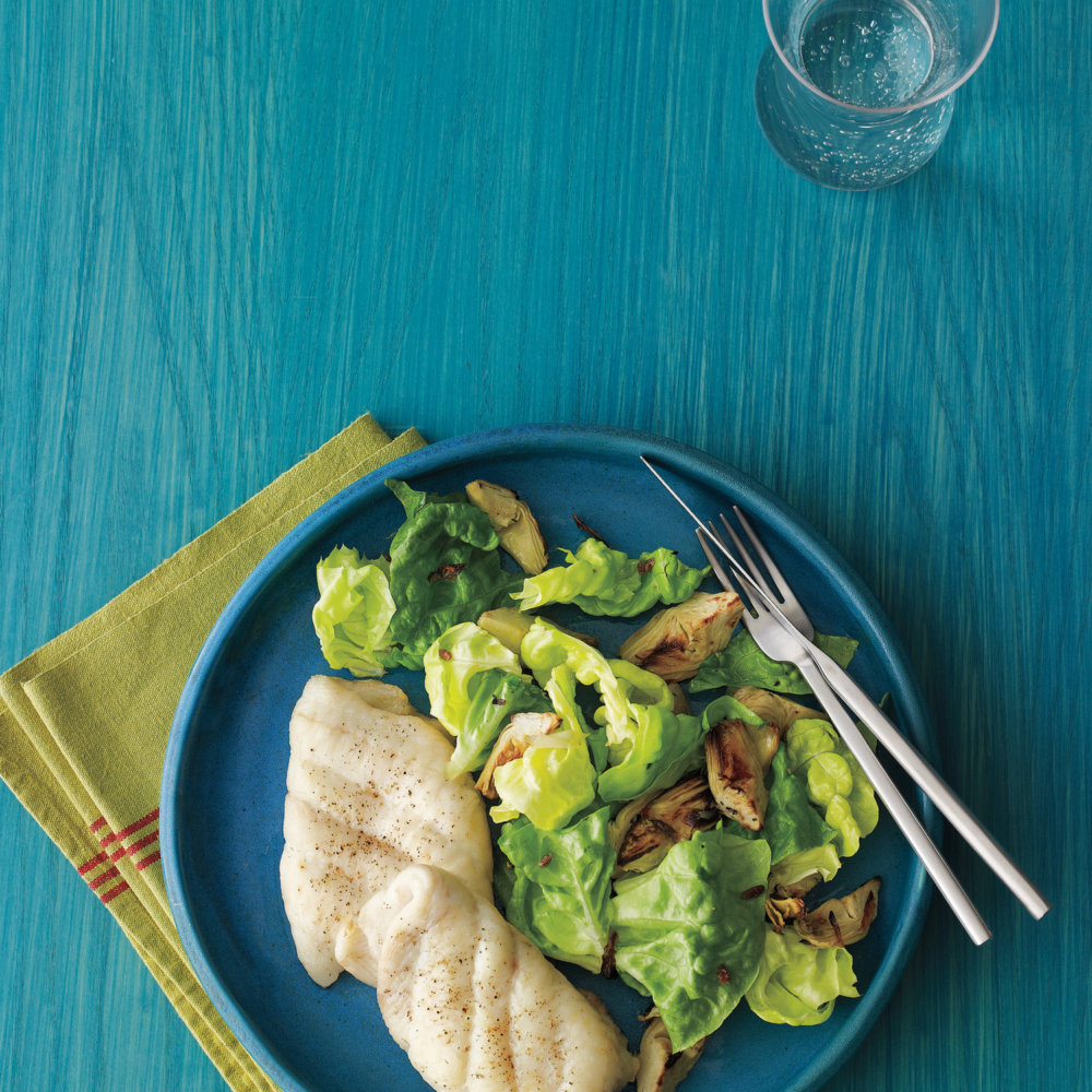 Broiled Fish with Artichoke Salad
