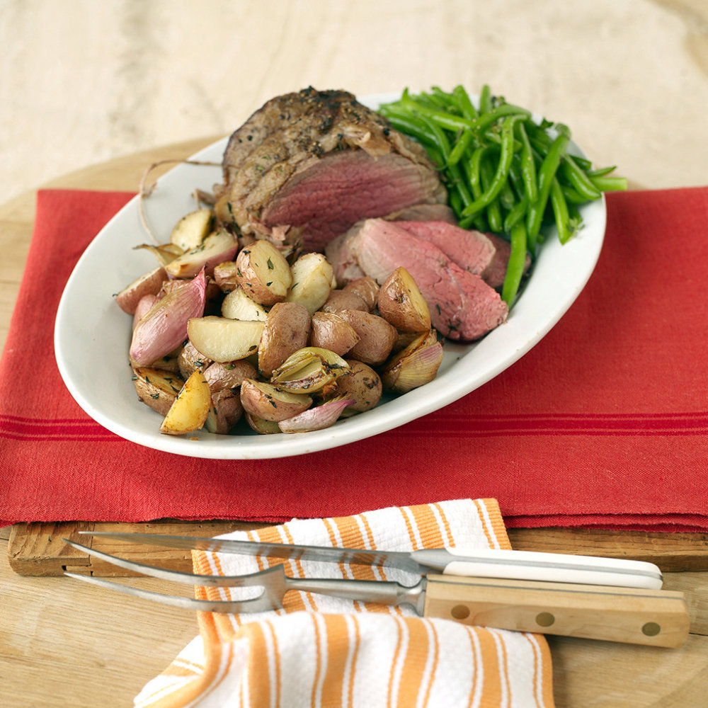 Roast Beef with New Potatoes and Shallots