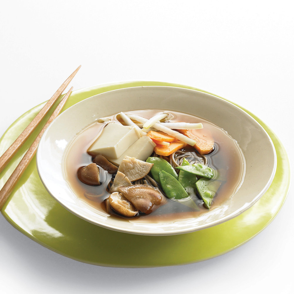 Asian Noodle Soup with Winter Vegetables and Tofu