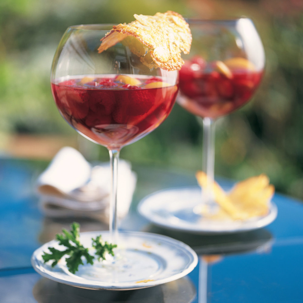 Fresh Pear and Berry Compote in Red Wine
