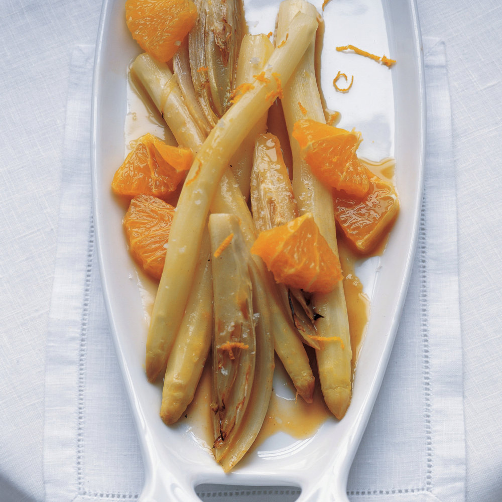 Sauteed White Asparagus and Endive in Orange Sauce
