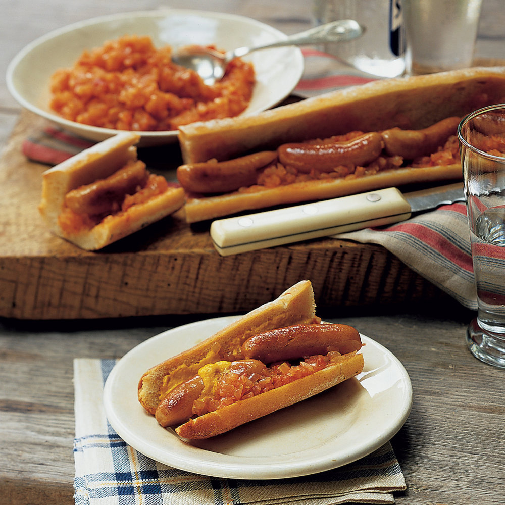 Cocktail Franks in a Baguette with Onion-Tomato Relish