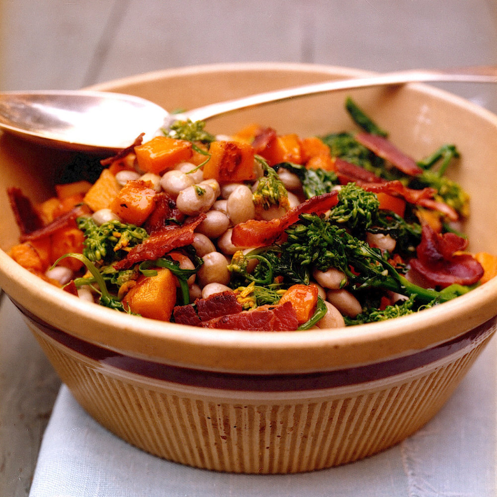Cranberry Bean Salad with Butternut Squash and Broccoli Rabe