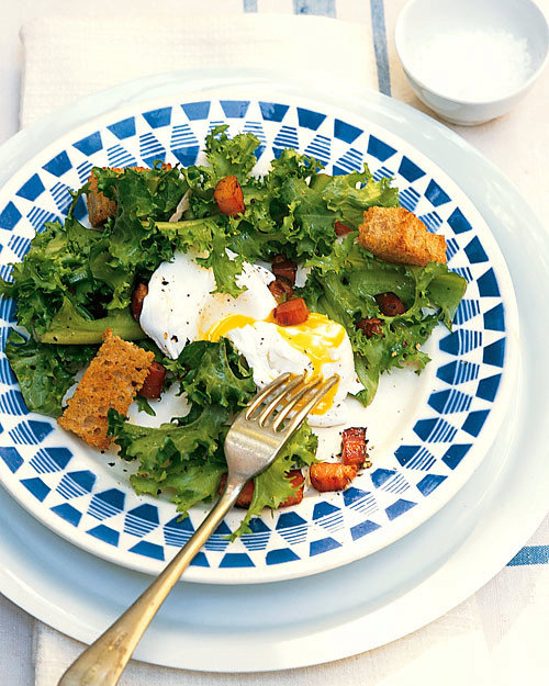 Chicory Salad with Lardons and Poached Eggs