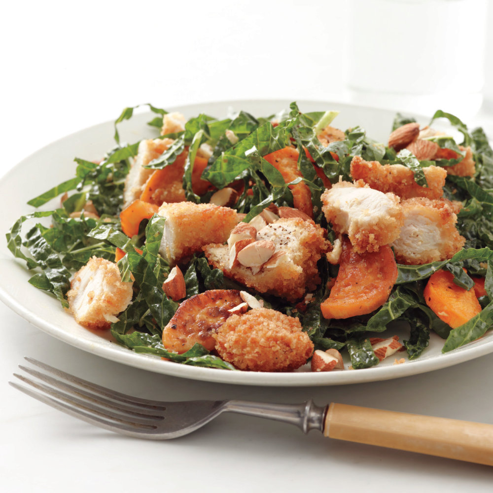 Kale Salad with Chicken and Sweet Potato