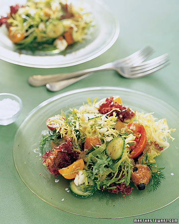 Mediterranean Salad with Olive-Bread Croutons