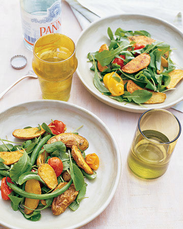 Roasted Fingerling and Tomato Salad with Green Beans and Arugula