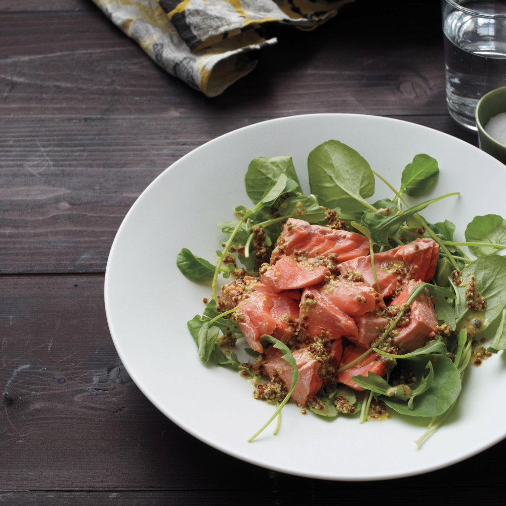 Poached Salmon and Baby Arugula