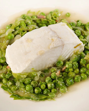 Braised Halibut Served in Casserole with Peas a la Francaise