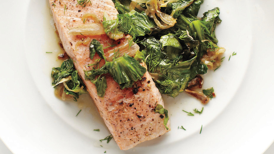 Quick-Braised Salmon and Lettuce