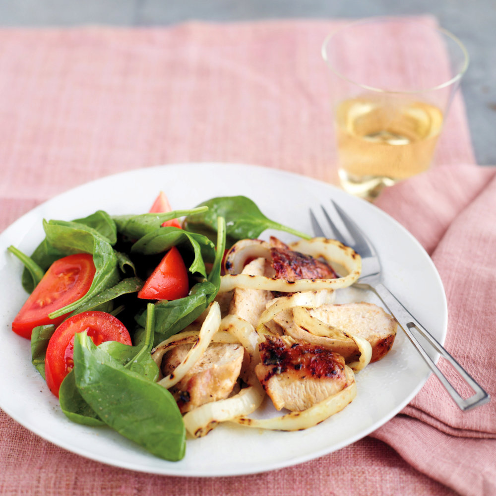 Grilled Honey-Mustard Chicken with Onions and Spinach Salad