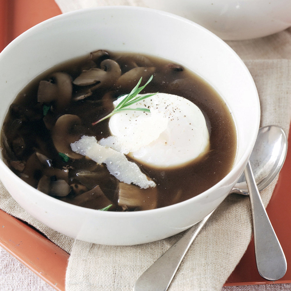 Mushroom Soup with Poached Eggs and Parmesan Cheese