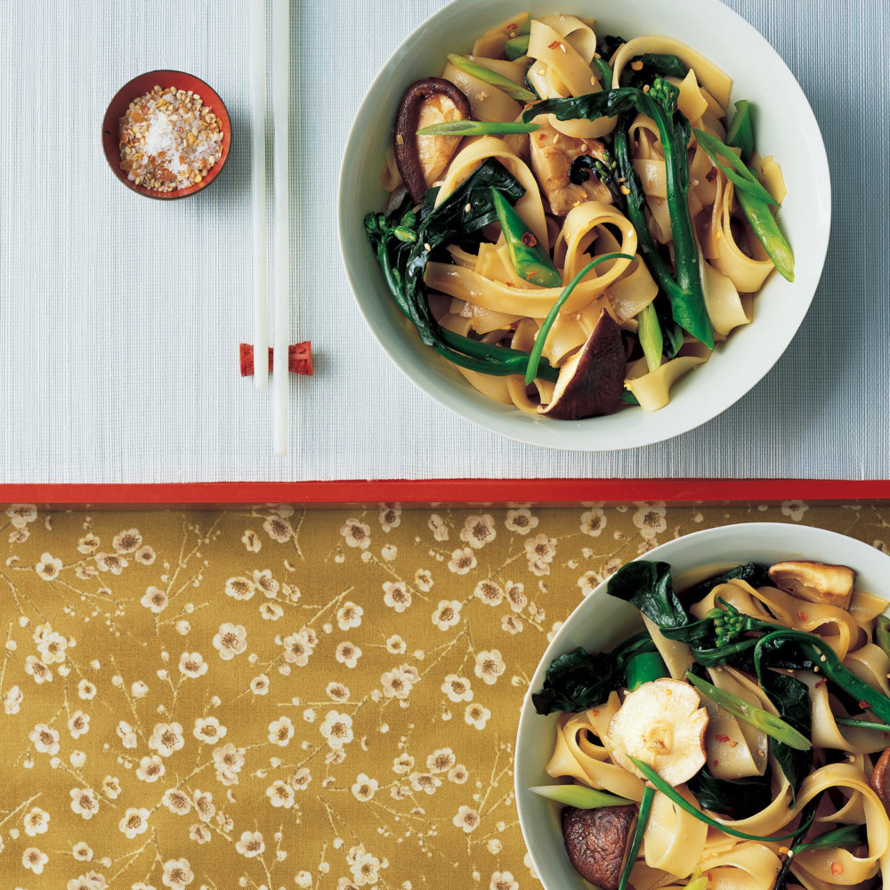 Rice Noodles with Chinese Broccoli and Shiitake Mushrooms
