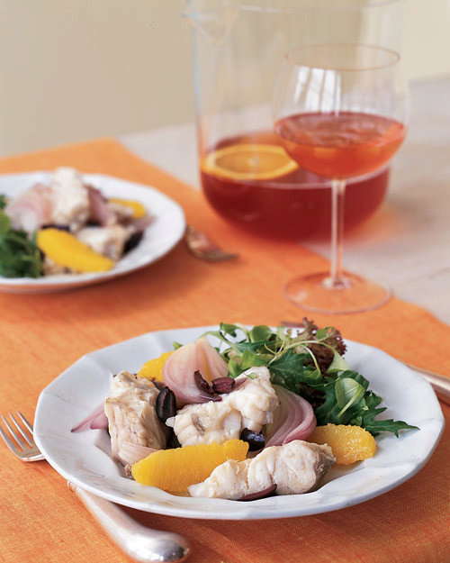 Poached Monkfish with Red Onion, Oranges, and Kalamata Olives