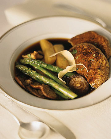 Roasted Mushrooms with Asparagus and Shaved Parmesan