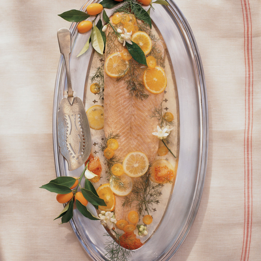 Whole Poached Salmon in Aspic with Citrus and Wild Fennel