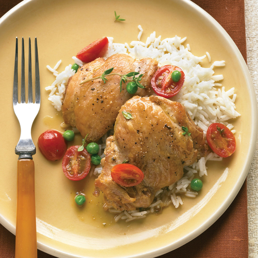 Braised Chicken with White Wine, Tomatoes, and Peas