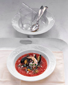 Spicy Gazpacho with Shrimp and Mussels