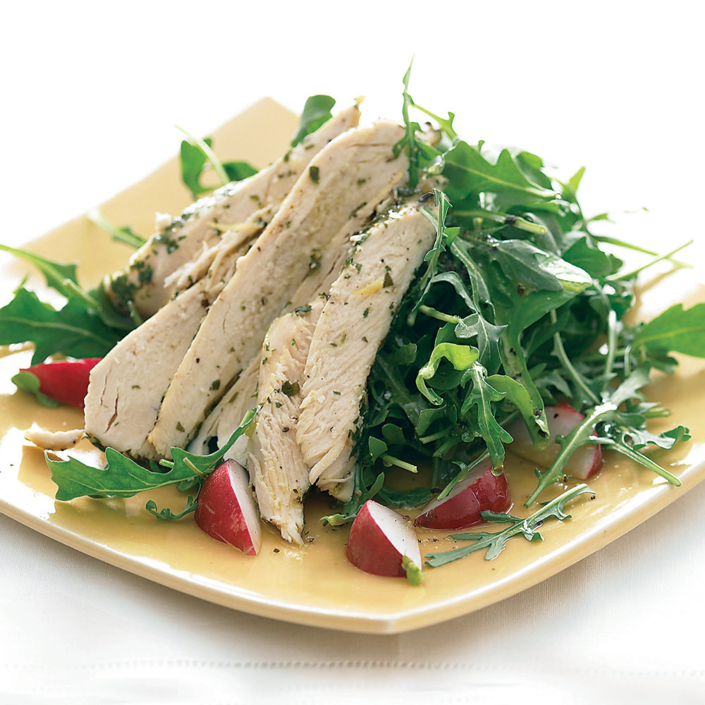 Zap It: Chicken with Lemon and Wine over Arugula