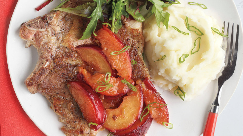 Pork Chops with Plums and Whipped Potatoes