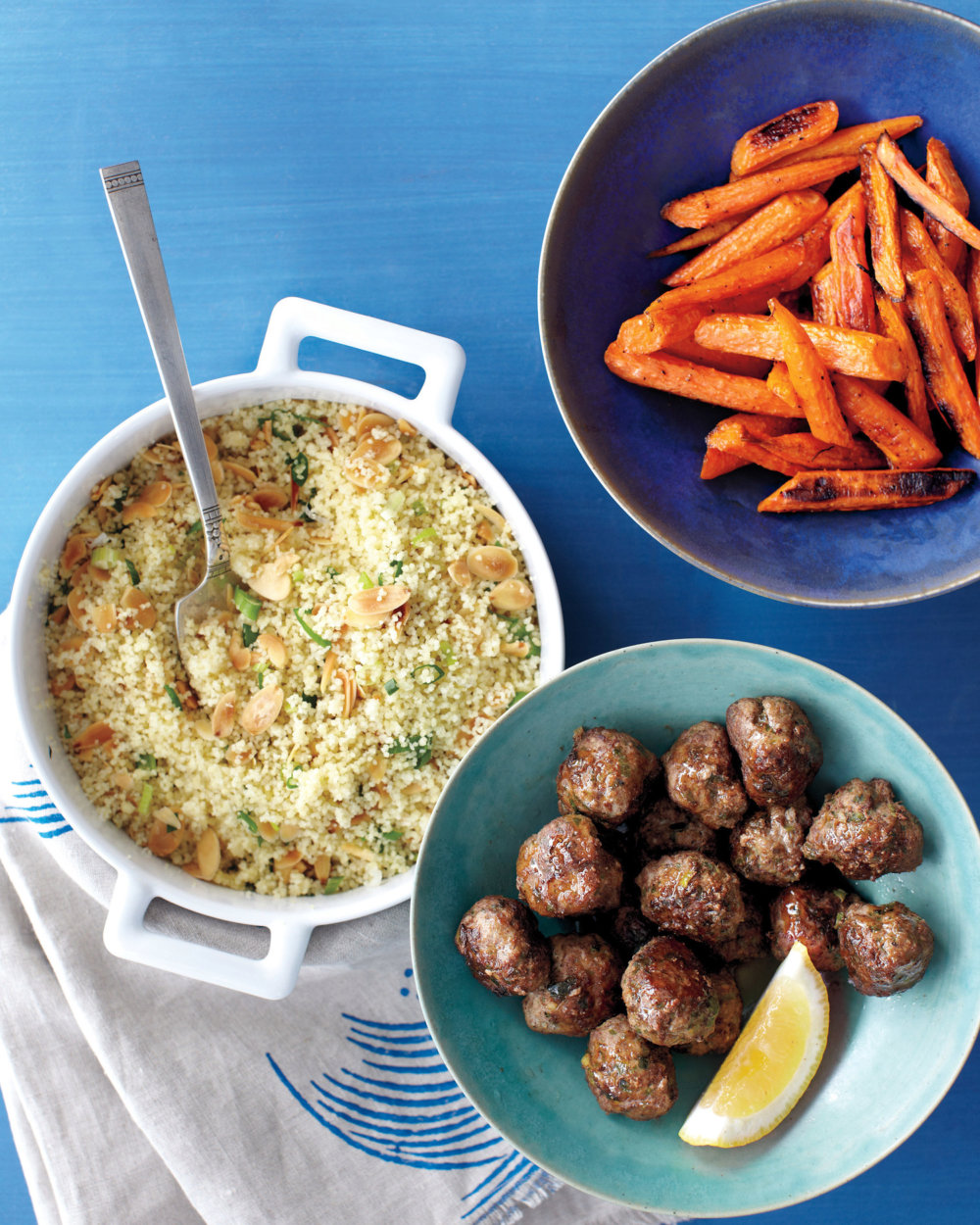 Moroccan Meatballs with Couscous and Roasted Carrots