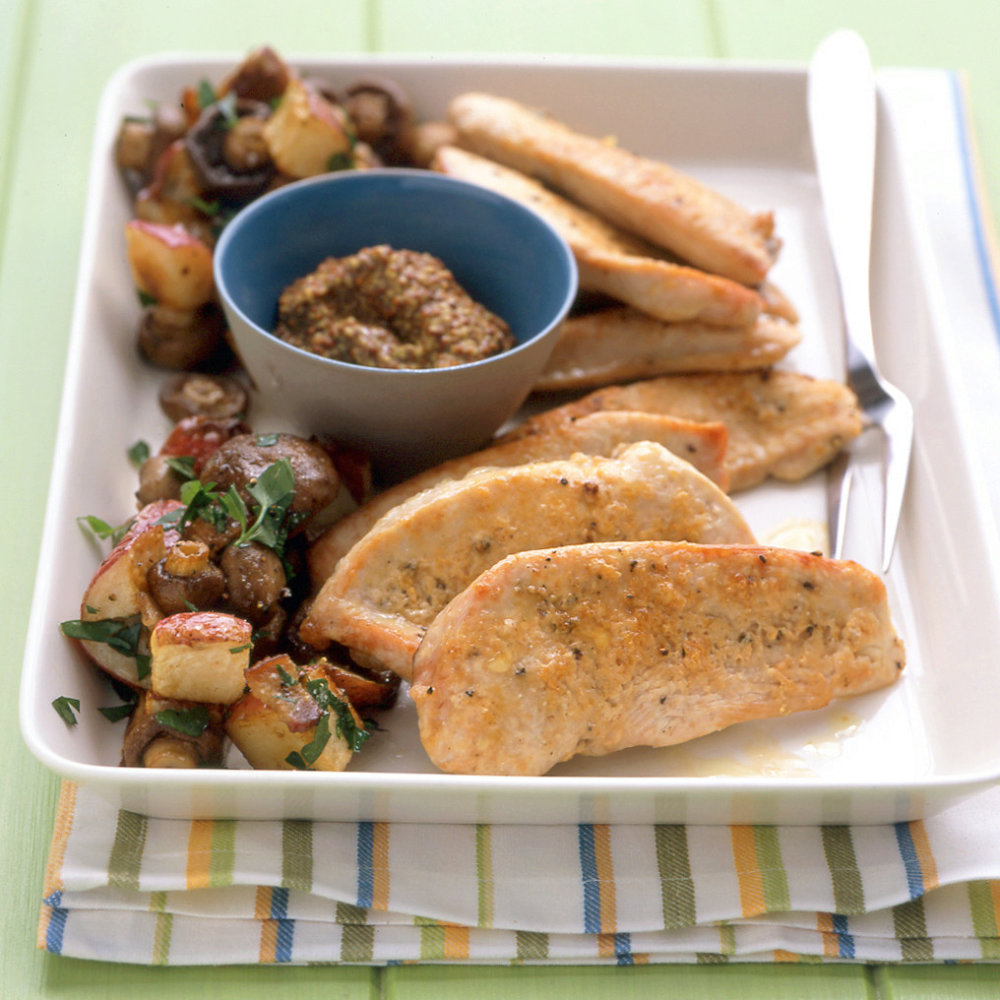 Easy Turkey Cutlets with Potatoes and Mushrooms