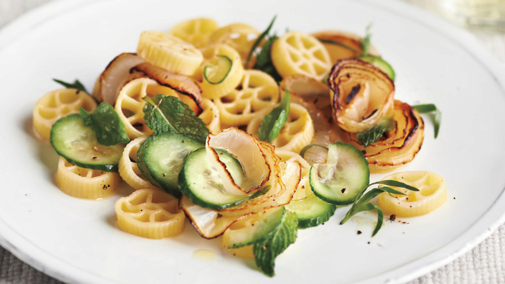 Rotelle with Onions, Cucumbers, and Herbs