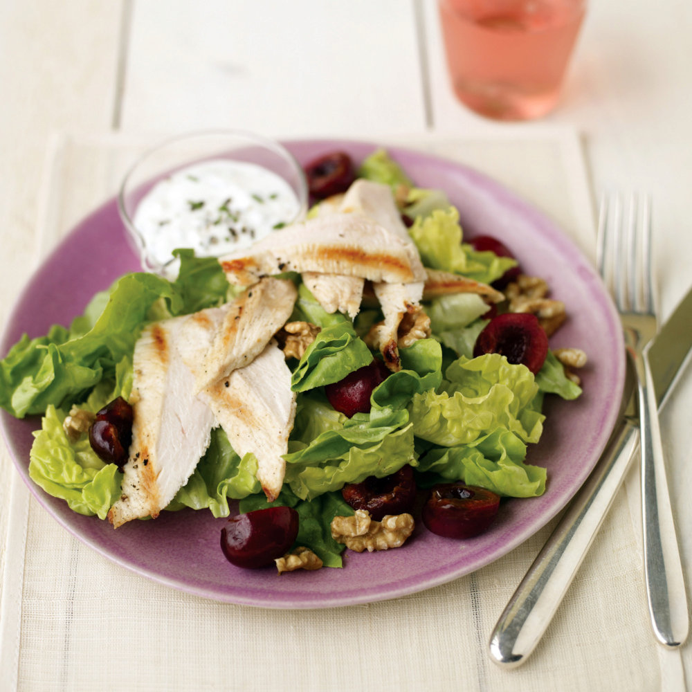 Seared-Chicken Salad with Cherries and Goat Cheese Dressing