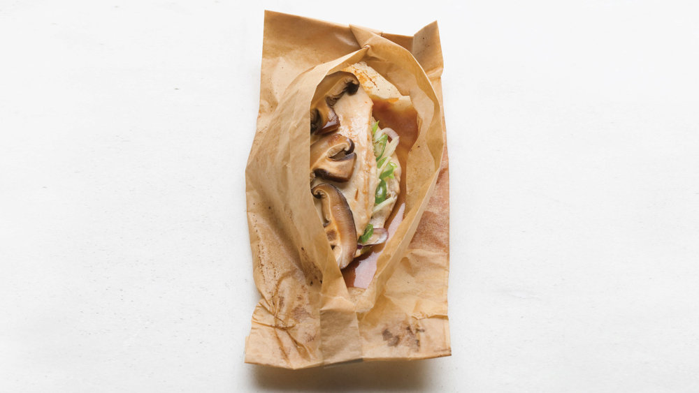 Ginger-Scallion Chicken Breasts Baked in Parchment