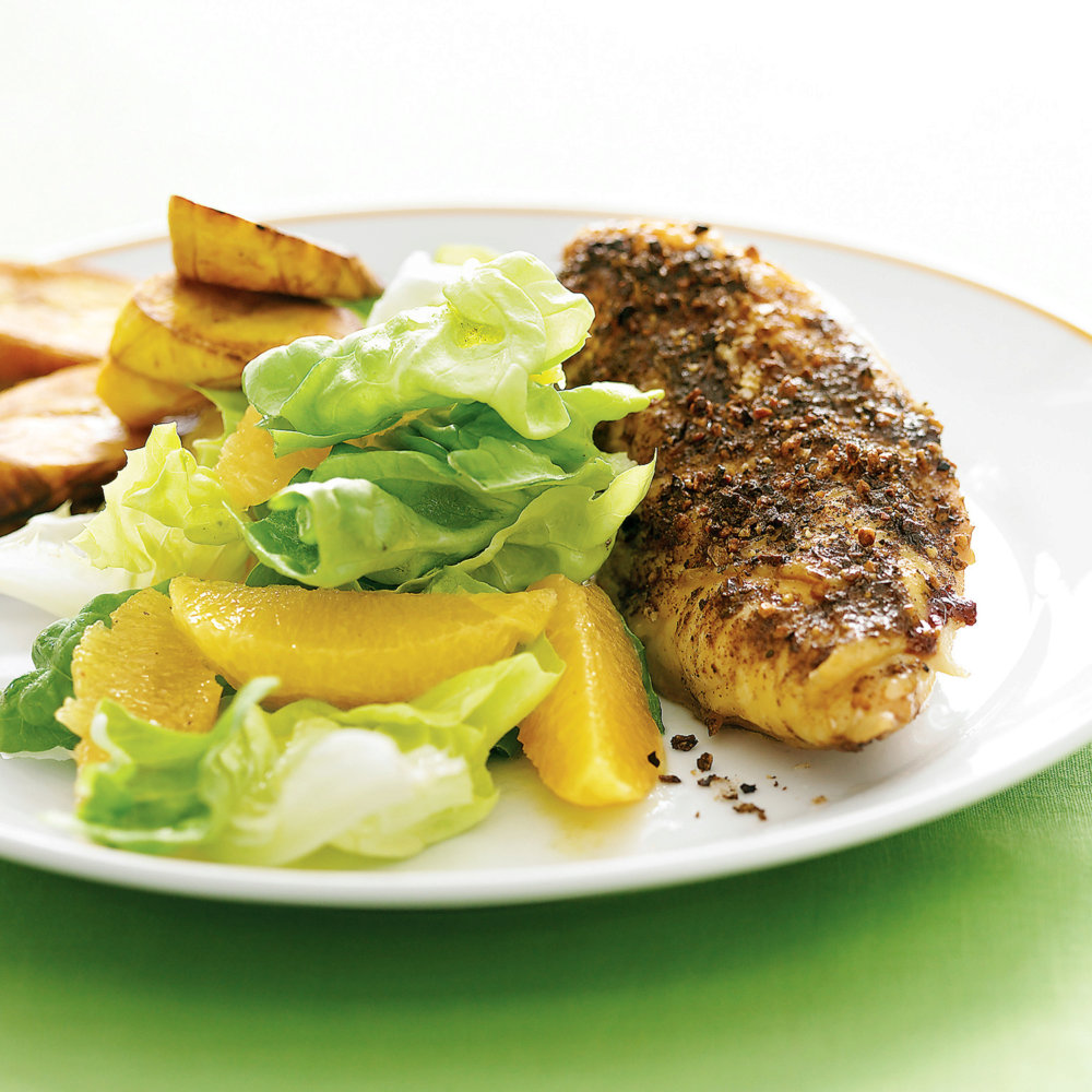 Jerk Chicken Breasts, Fried Plantains, and Bibb Salad