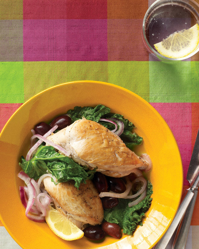 Chicken with Mustard Greens, Olives, and Lemon