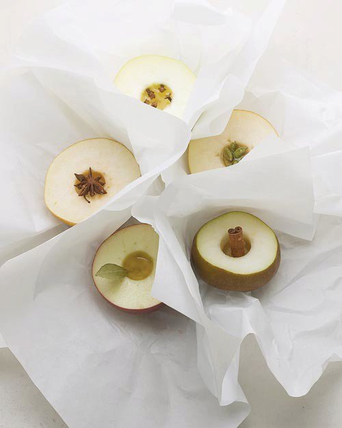 Asian Pears with Star Anise Baked in Parchment
