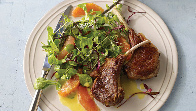 Lamb Chops with Citrus Sauce and Baby Mache Salad