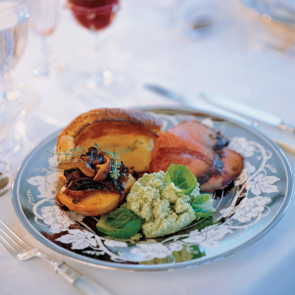Baked Quinces with Wild Mushrooms in a Madeira Glaze