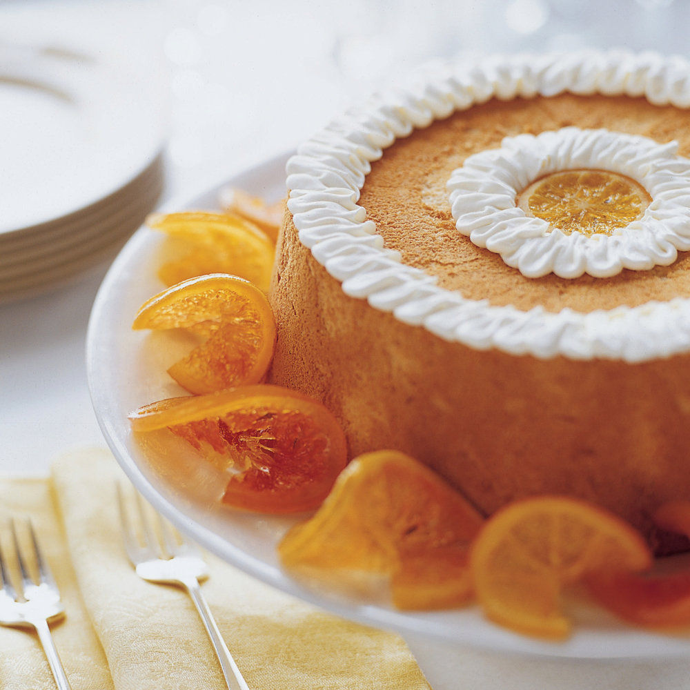 Brown Sugar Angel Food Cake with Candied Citrus Slices