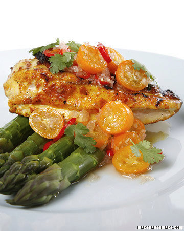 Grilled Chicken with Kumquat-Lemongrass Dressing