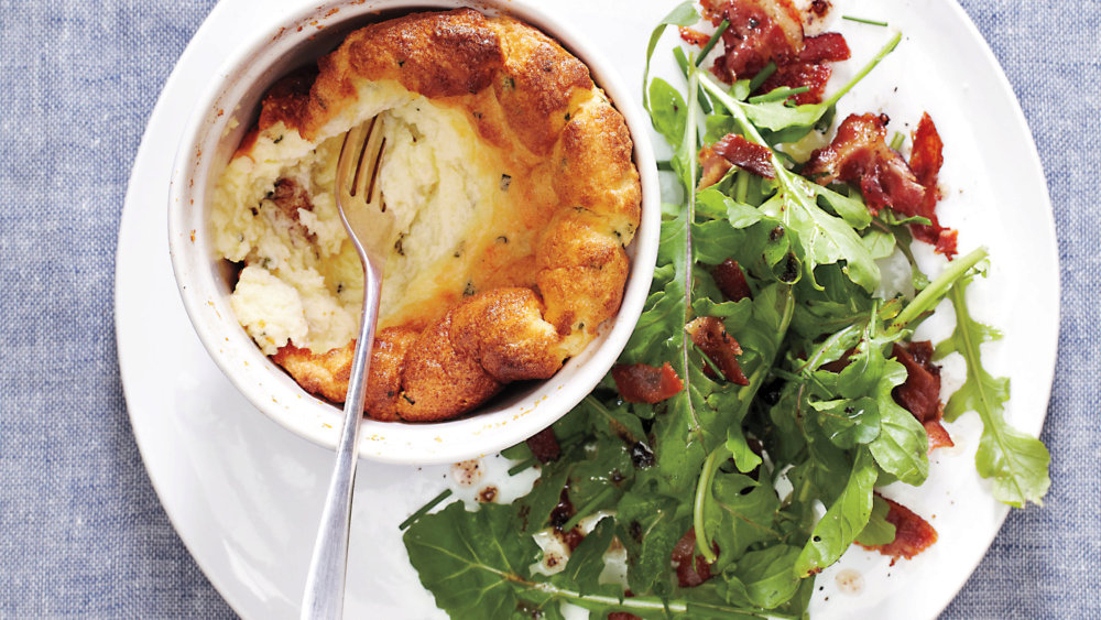 Cheese Souffles with Bacon Arugula Salad