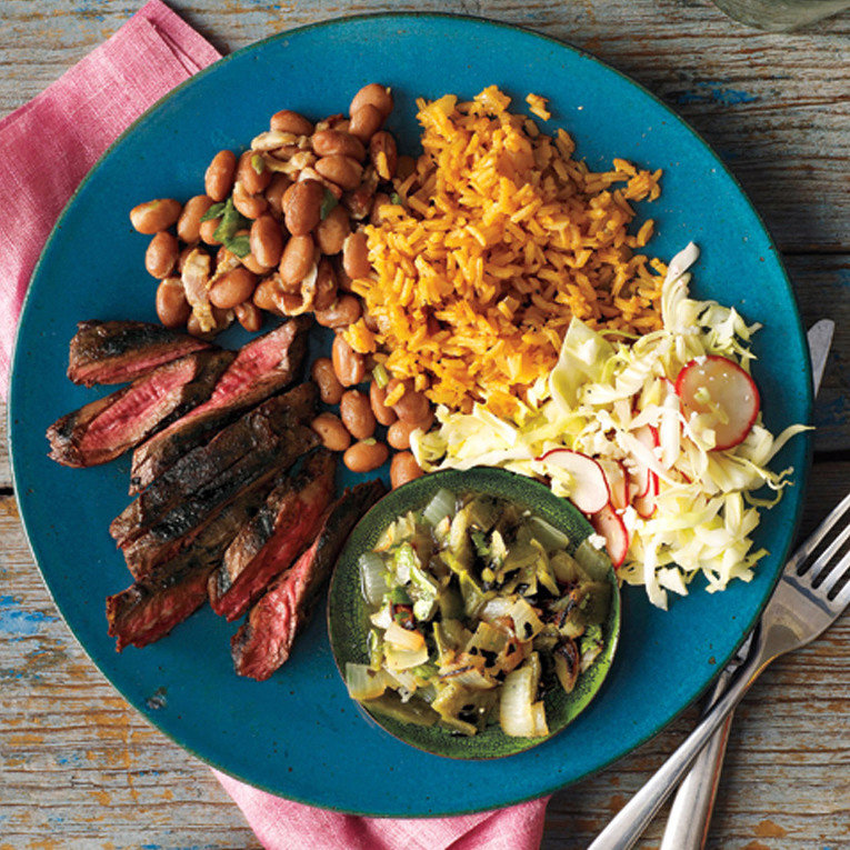 Grilled Skirt Steak with Poblano Relish