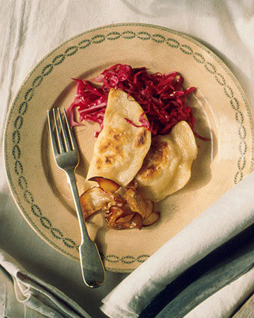Parsnip Pierogi with Pickled Red Cabbage and Sauteed Apples