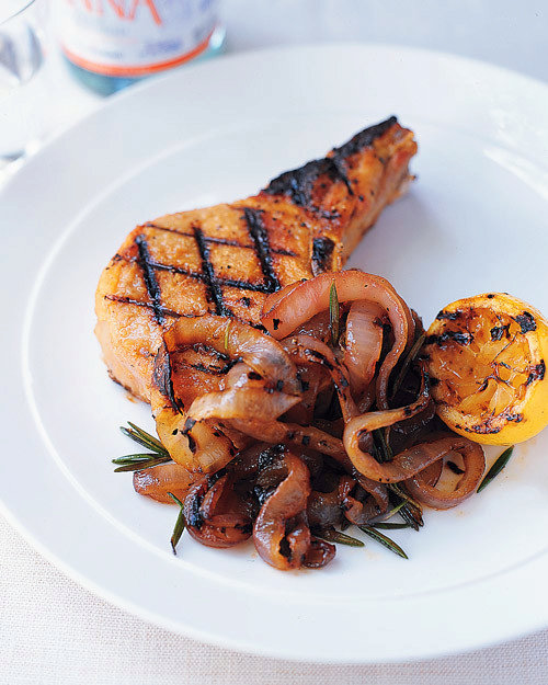 Grilled Pork Chops and Onions