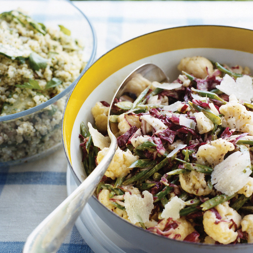 Roasted Garlic for Radicchio Slaw with Green Beans and Cauliflower