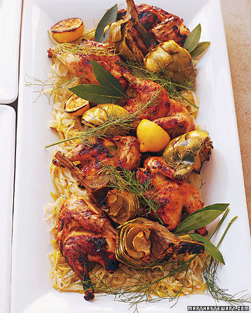 Grilled Coriander-Pepper Poussins with Leeks and Fennel