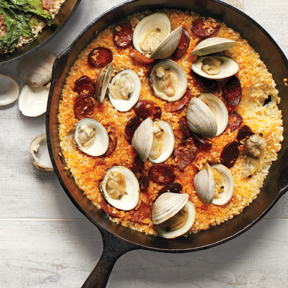 Baked Rice with Chorizo and Clams