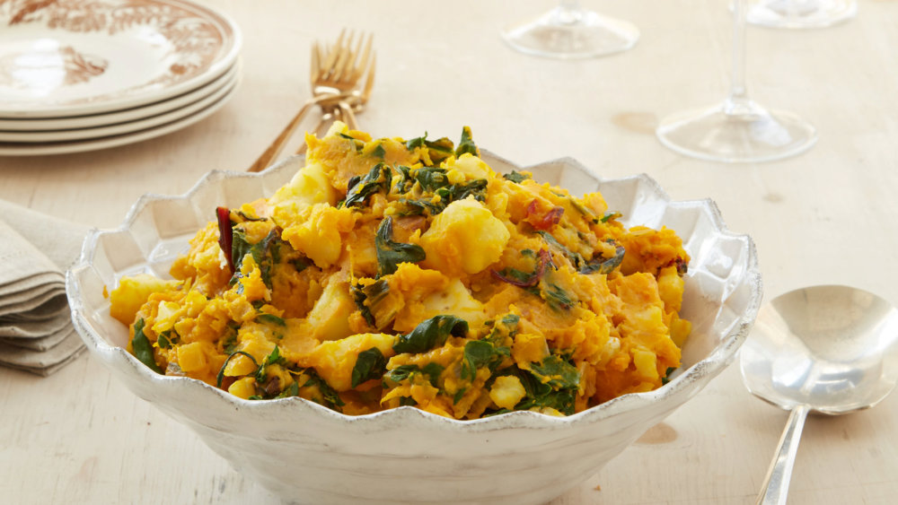 Mashed Potatoes with Pumpkin and Greens