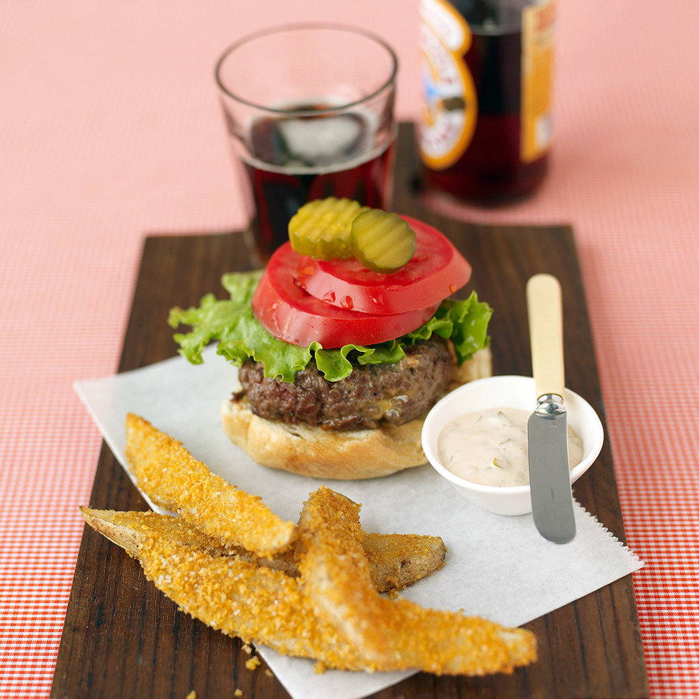 Cheddar Burgers and Crispy Oven Fries