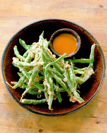 Fried Green Beans with Sweet Hot Mustard