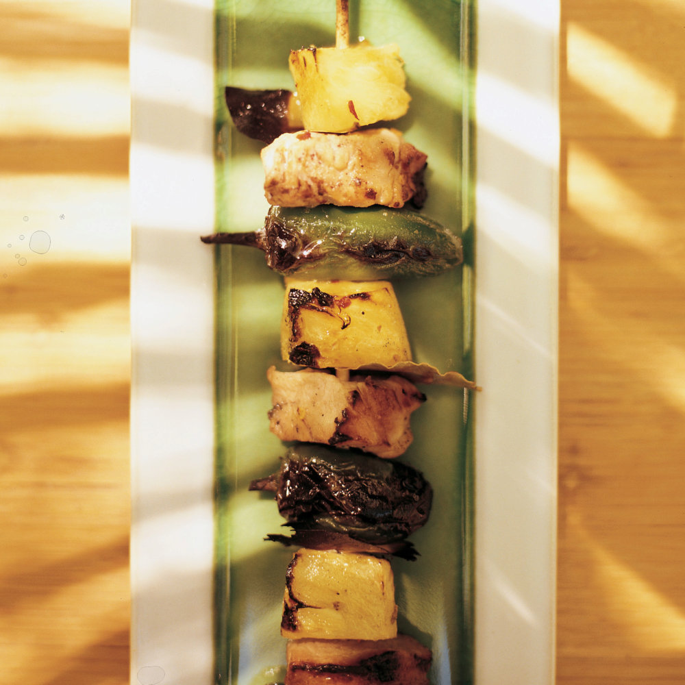 Brine-Cured Pork Kabobs with Jalapenos and Pineapple